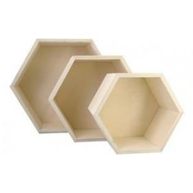 Lot de 3 Boîtes en bois gaufre - Kreul | Boîtes de Rangement Bois