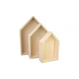Lot de 3 Boîtes en bois maison - Kreul | Boîtes de Rangement Bois
