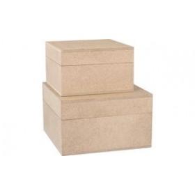 Lot de 2 Boîtes en bois carré - Kreul | Boîtes de Rangement Bois