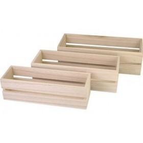 Boîte en bois rectangulaire - Lot de 3 - Kreul | Boîtes de Rangement Bois