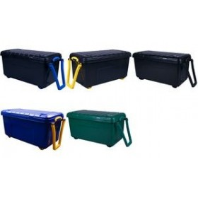 Coffre de rangement à roulettes 160 litres bleu jaune - Really Useful Box | Coffres de Rangement