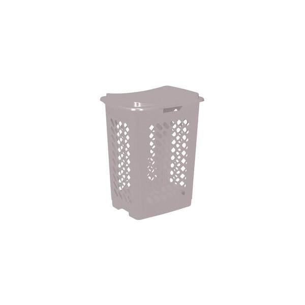 Panier à linge piet couvercle 60 L gris - Plast Team   Corbeilles de Rangement