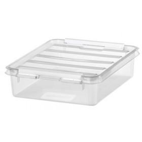 Petite Boîte de rangement plate CLASSIC 1 litre clips blancs - Smarstore - Boîtes avec Couvercle