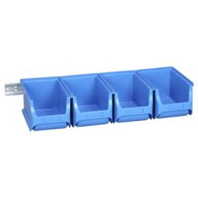Lot de 4 bacs à bec avec rail ProfiPlus 3/5 bleu - Allit   Stockage