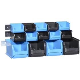 Lot de 14 bacs à bec avec rail ProfiPlus 1+2+3/17 bleu/noir - Allit   Stockage