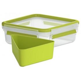Boîte à goûter Clip&Go 0,85L transparent / vert - Emsa | Boîtes à Repas