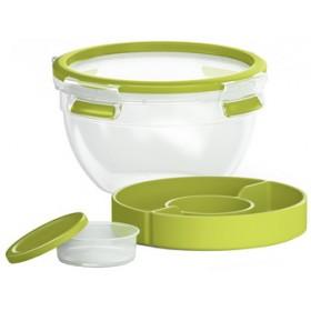 Boîte à salade Clip&Go avec compartiments 1L transparent / vert - Emsa | Boîtes à Repas