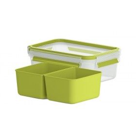Boîte à repas 2 compartiments Clip&Go 1L transparente / vert - Emsa | Boîtes à Repas