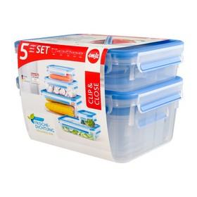 Lot de 5 Boîtes hermétiques Alimentaires Clip & Close - Emsa | Boîtes Hermétiques