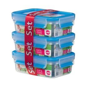 Lot de 3 Boîtes hermétiques alimentaires Clip & Close 3x0,55l - Emsa